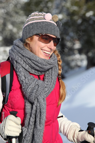 young woman on a ski vacation