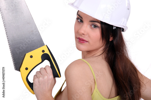 Woman with a saw