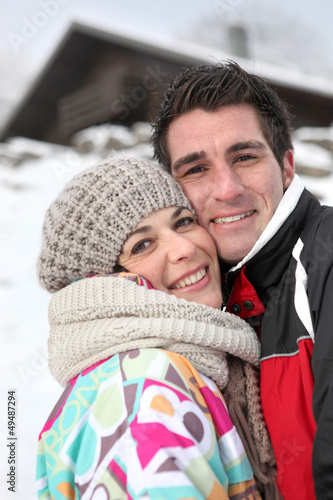 Couple enjoying their alpine getaway