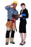 Female supervisor and worker poster