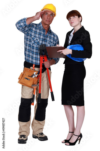Female supervisor and worker