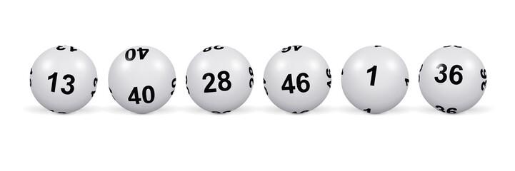 Loto. Alignement de boules blanches