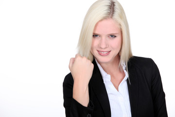 Young blond businesswoman