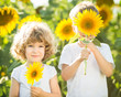 Happy children playing with sunflowers