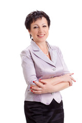 adult smiling businesswoman over white