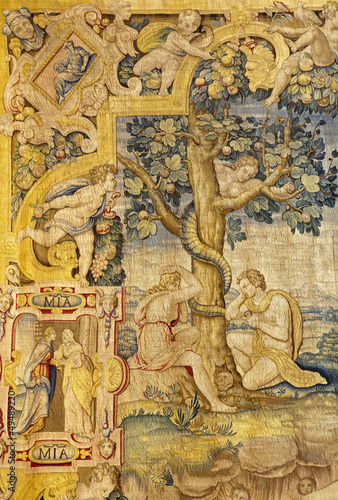 Bergamo - Adam and Eva in the Paradise - Tapestry from cathedral