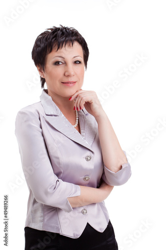 adult businesswoman over white