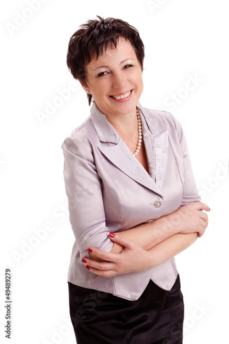 happy adult smiling businesswoman over white