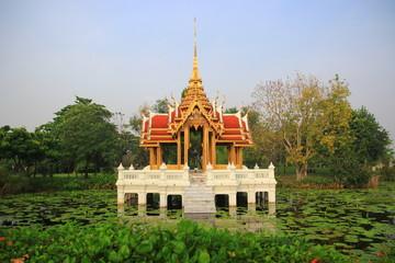 Thai pavilion on pond