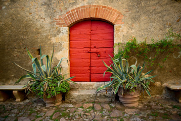 Ancient red door