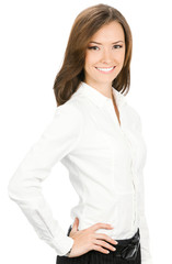 Smiling young cheerful business woman, isolated
