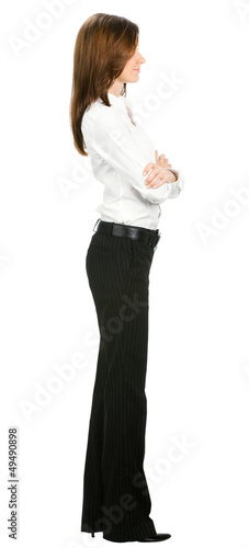 Full body of young businesswoman, isolated
