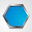 Vector hexagon shape with silver frame