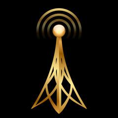 Vector gold antenna icon