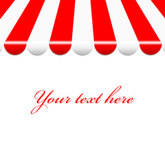 Vector background with red and white awning