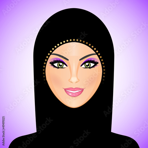 Vector illustration of arab woman in black