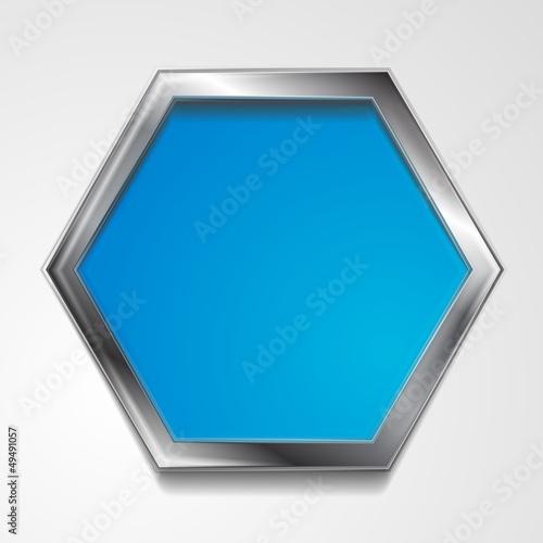 Vector hexagon shape with silver frame
