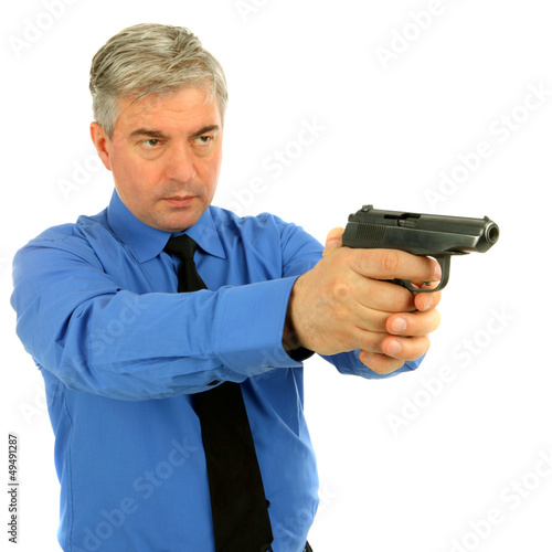 Portrait of adult man with the gun