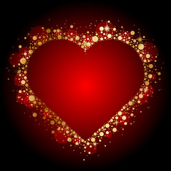 Vector gold shiny heart on red background