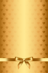 Vector gold background with hearts and bow