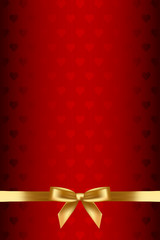 Vector red background with hearts and gold bow