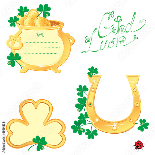 Set of Frames for Saint Patrick's day design with shamrock