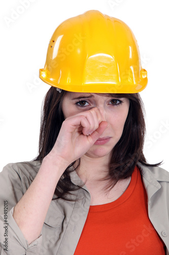 Female laborer crying