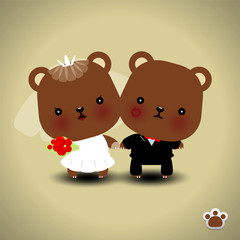 Wedding teddy bears - vector illustration