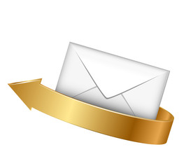 Vector illustration of envelope and gold arrow