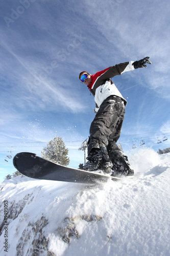 Man on a snowboard