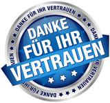 """Button Banner """"Danke für Ihr Vertrauen"""" blau/silber"""