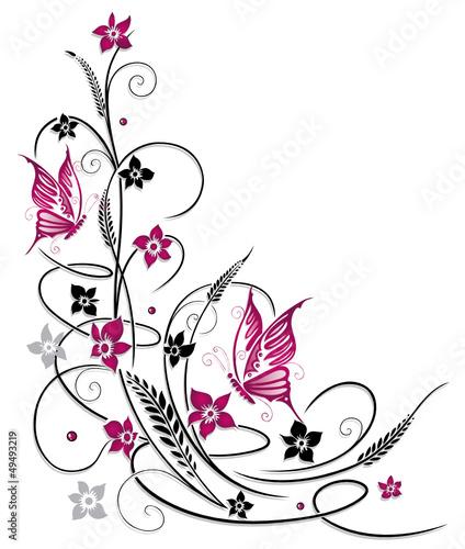tendril-flora-kwiaty-motyle-czarny-rozowy