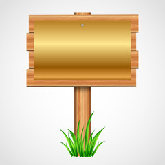Vector illustration  wooden sign with gold paper