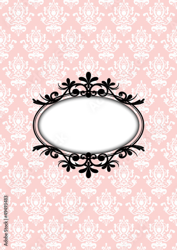 Vector illustration of vintage pink frame