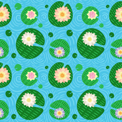 Seamless bright pattern with various lotuses
