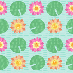 Seamless pattern with lotus and leafs #1