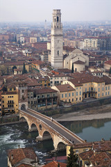 Verona - Pietra bridge and Dom from Castel san Pietro