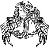 Art Nouveau style angel vector illustration