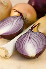 different onions on a wooden board