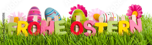 Frohe Ostern Text mit Wiese Banner - 49493816