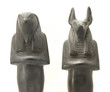 Постер, плакат: Egyptian sculptures of gods Horus and Anubis