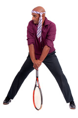business man playing tennis