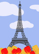 Eiffel tower with tulips