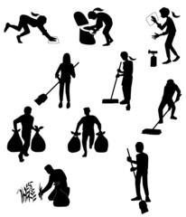 掃除する人々