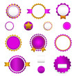 Set of sale badges, labels and stickers without text in purple