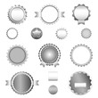 Set of sale badges, labels and stickers without text in gray