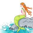 beautiful mermaid sitting on a rock