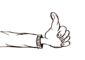 main pouce vers le haut positif
