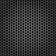 Metal hexagon on black background