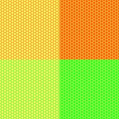 Four light colorful hexagon
